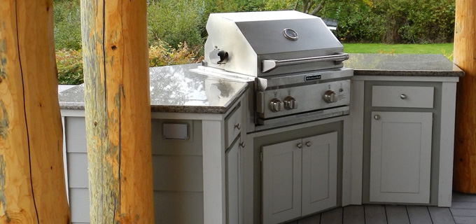 Custom outdoor barbeque with Hardi and Azek cabinets