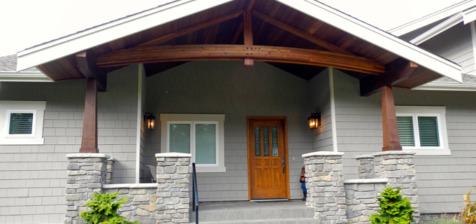 Exterior woodwork, custom home on Agate Cove, Guemes Island